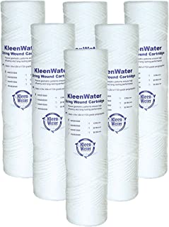 String Wound Water Filters, KleenWater KW2510SW Replacement Water Filter Cartridges, Dirt Rust Sediment Filtration, Set of 6