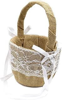 DGQ Burlap Flower Basket Vintage Retro Lace Bow Wedding Flower Girl Basket for Wedding Ceremony Party