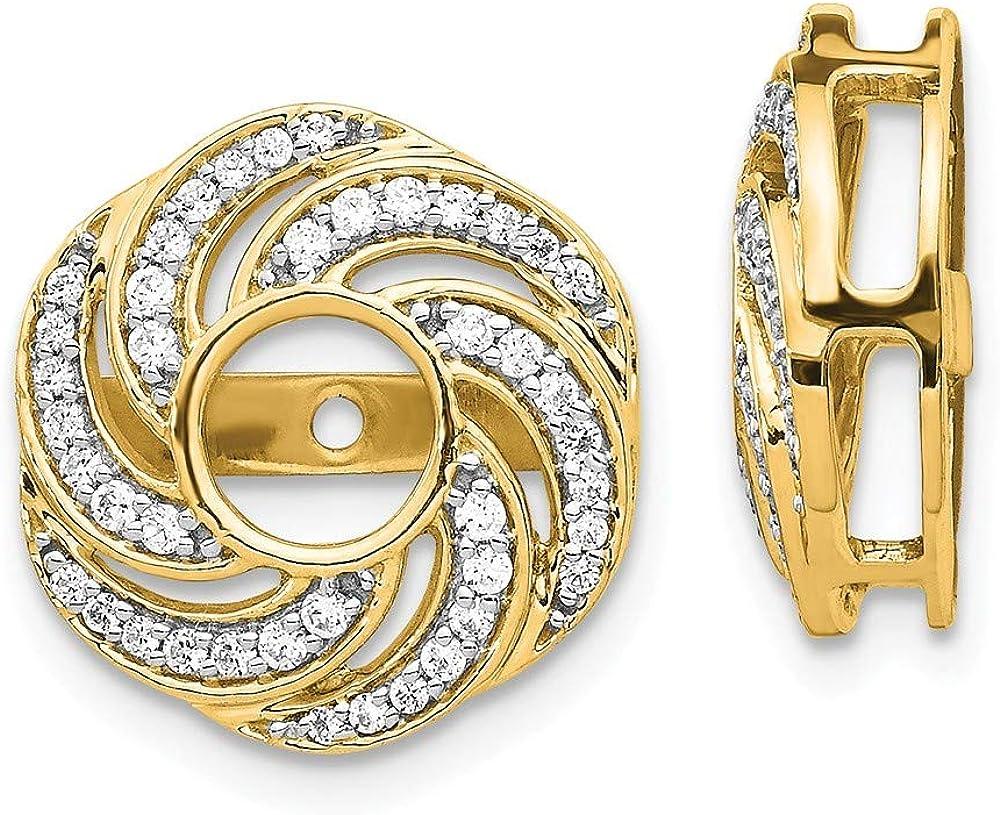 Solid 14k Yellow Gold Swirl Diamond Jacket Earring 14mm (.324 cttw.)