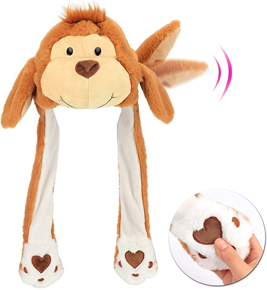 Hopearl Animal Hat with Ears Moving Jumping Pop Up Beating Plush Dress Up, 22''