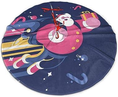 rouxf Jupe de sapin de Noël, Père Noël avec sac de cadeaux, jupe de sapin de Noël volante pour décorations de Noël 91,4 cm