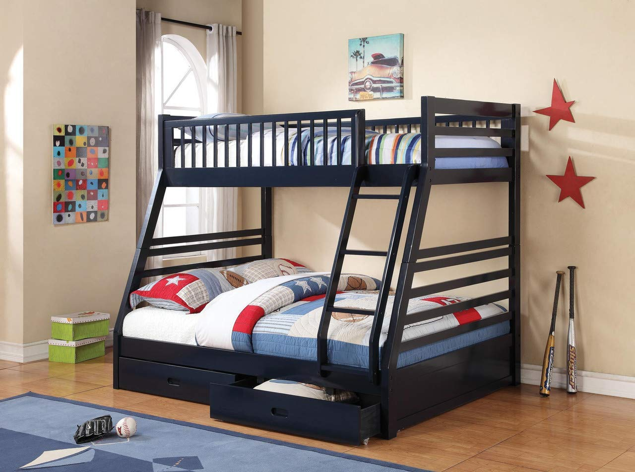 Aprodz Elvira Navy Blue Twin Over Queen Size Bunk Bed With Storage Amazon In Home Kitchen