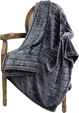 "Bertte Throw Blanket Super Soft Cozy Warm Blanket 330 GSM Lightweight Luxury Fleece Blanket for Bed Couch- 50""x 60"", Dark Gre"