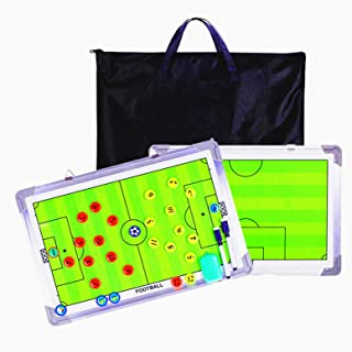 Pure Vie 20.86'' x 12.20'' Coaches Tactical Board, Premium Portable Professional Football/Soccer Coaching Strategy Clipboard Training Assistant Equipment with Write Wipe 2-in-1 Pen and Dry Eraser