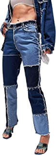 BIBOKAOKE Streetwear Harajuku Aesthetic Pants - Pantalones vaqueros para mujer, talla grande, lisos, con cintura alta