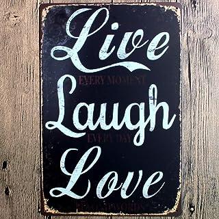 Live Laugh Love Retro Tin Metal Wall Art Signs, Original Design Thick Tinplate Print Poster Wall Decoration