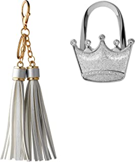 OOTSR Handbag Tassel Keyring and Crown Foldable Purse Hook, Portable Leather DoubleTassel Key Chain Women Charm Keyrings for Handbag Wallet Purse with Crown-Shape Handbag Hanger Holder for Table