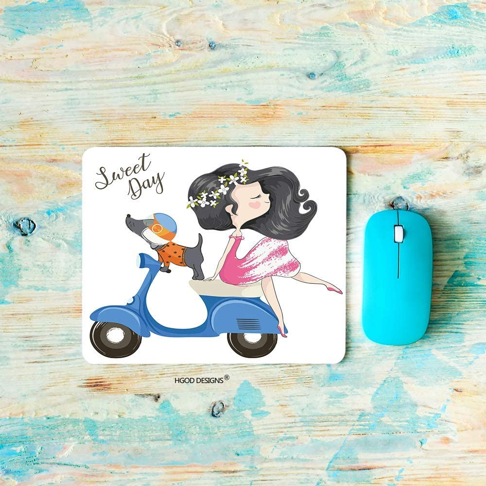 N\A DISE脩OS DE HGOD Gaming Mouse Pad Girl, Cute Beautiful Girl and Dog Riding The Scooter Mousepad Rectangle Alfombrillas de Goma Antideslizantes