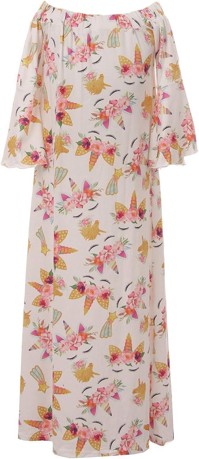 Little Girls Off Shoulder Floral Unicorn Birthday Party Maxi Flower Girl Dress