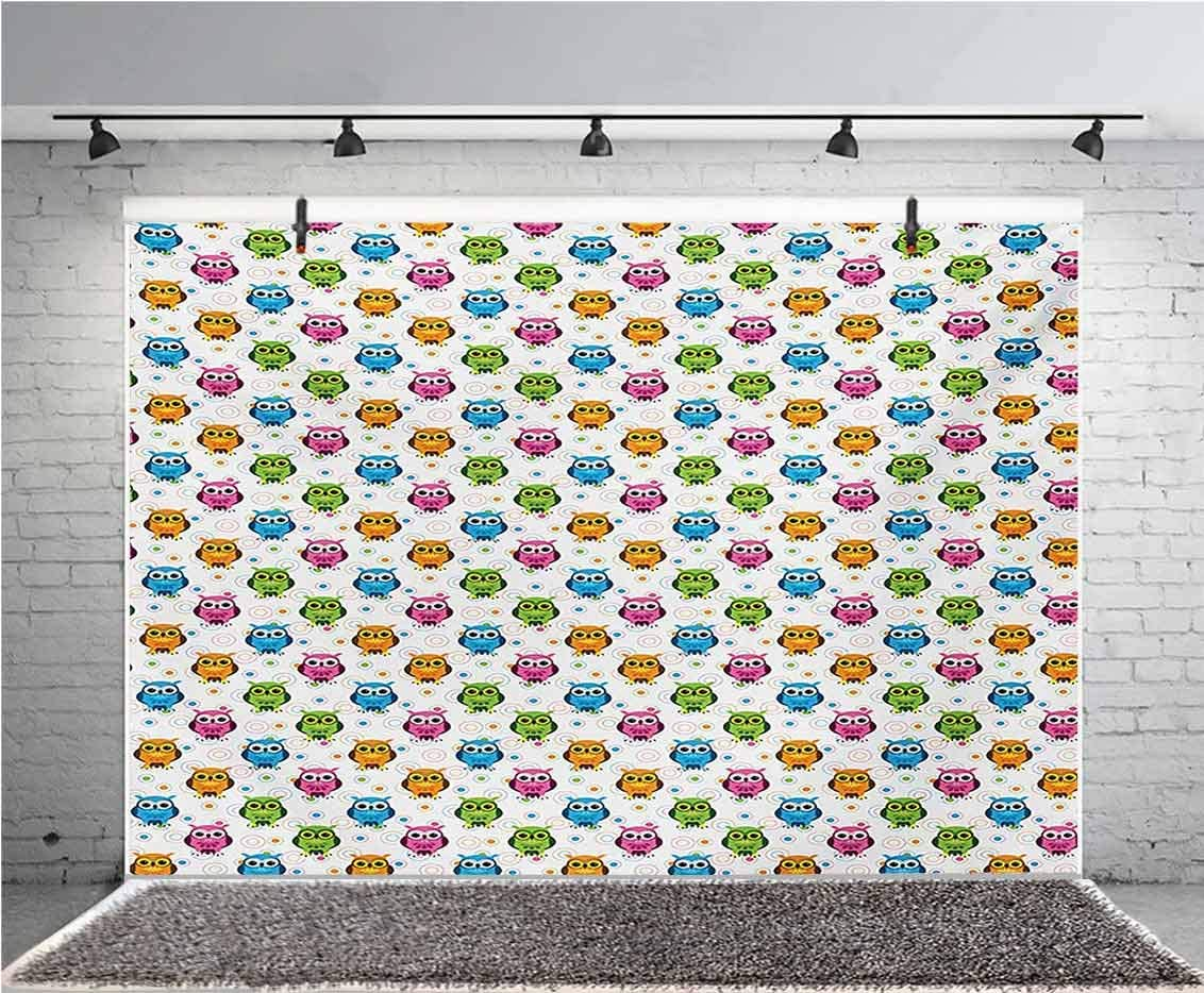 Owls 10x6.5 FT Vinyl Photography Backdrop,Lively Colored Fun Kids Cartoon Happy Mascots Colorful Pattern with Circles and Dots Background for Photo Backdrop Baby Newborn Photo Studio Props