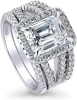 BERRICLE Rhodium Plated Sterling Silver Emerald Cut Cubic Zirconia CZ Halo Engagement Wedding Split Shank Ring Set 3.5 CTW