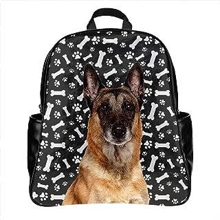 Cute Belgian Malinois Dog Print School Backpack Bag PU Leather