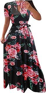 SicongHT Damen Sommer Kleid Kleider Sommerkleider Frauen Maxikleid Lange Front Cut Out Floral Kurzarm Sommerkleid