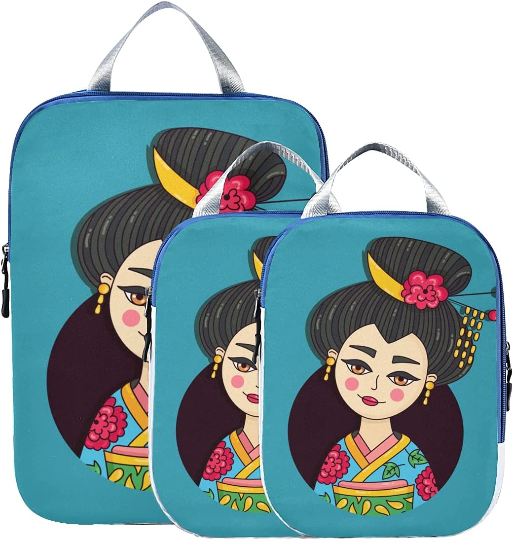 Suitcase Popular popular Organizer Bags Set Elegant Packi In Pretty Geisha All stores are sold Japan