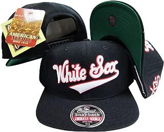 American Needle Chicago White Sox Black Snapback Adjustable Plastic Snap Back Hat/Cap