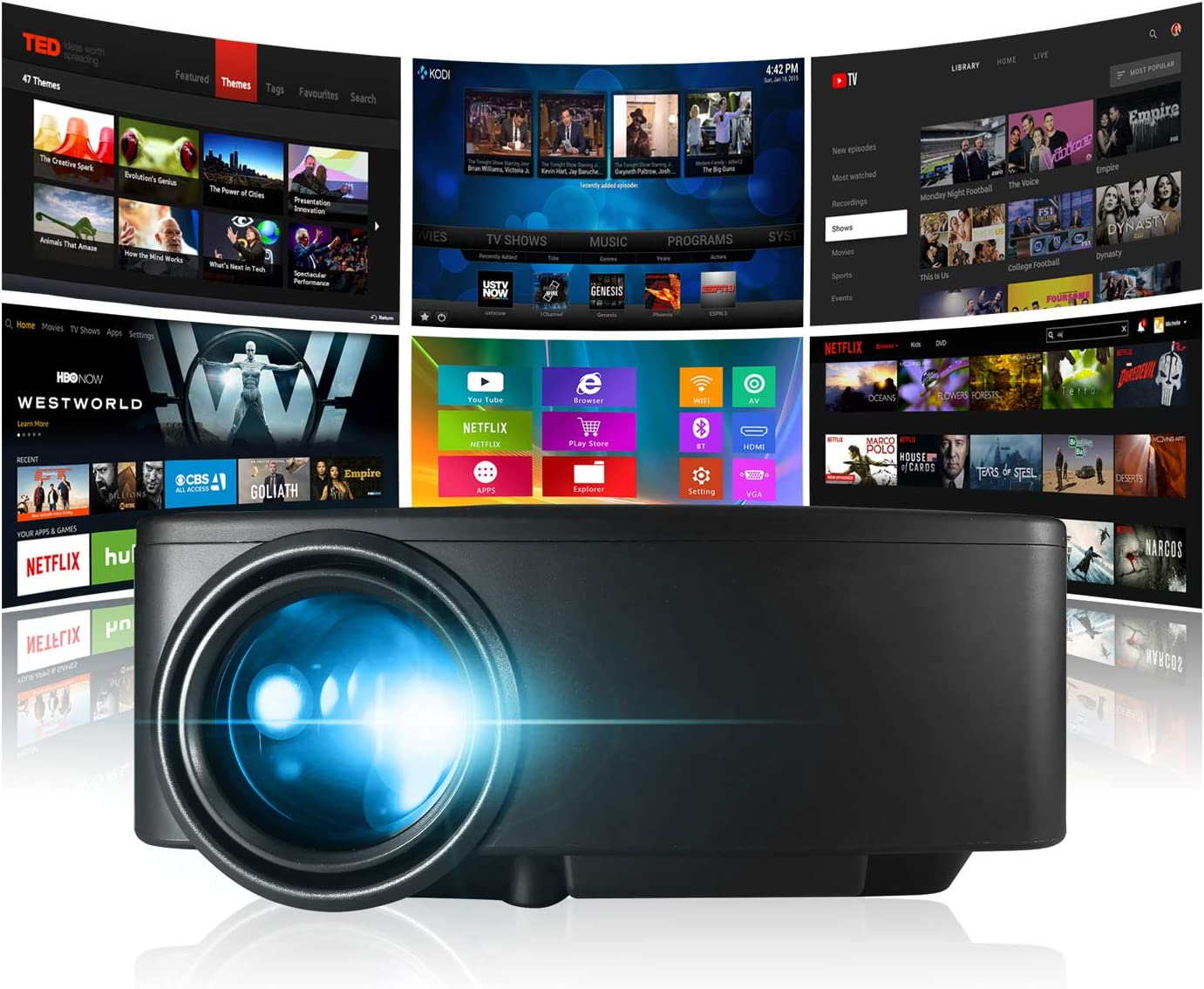 GooDay Smart Projector Android WiFi online shop Be Bluetooth Max 90% OFF Portable Video
