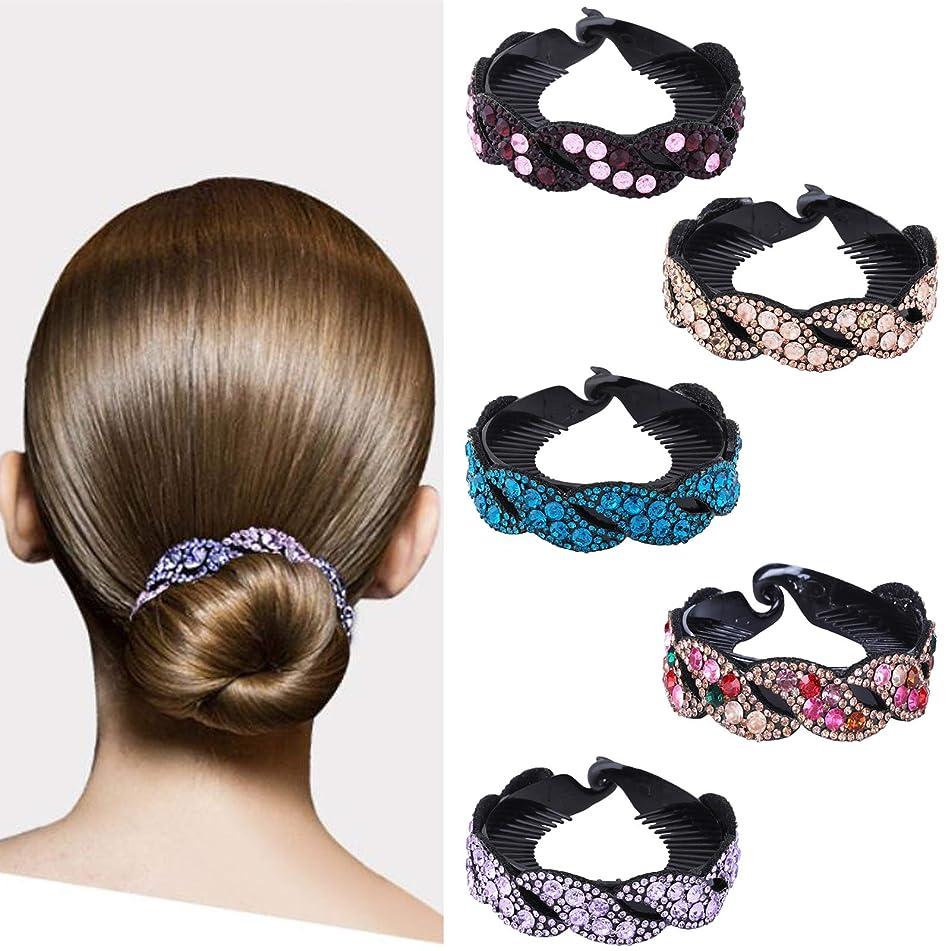 Rhinestone Hair Clip for Women - 5Pack Half-balloon Nest Expanding Hairpin Girls Hair Claws Hair Bun Holders Accessories