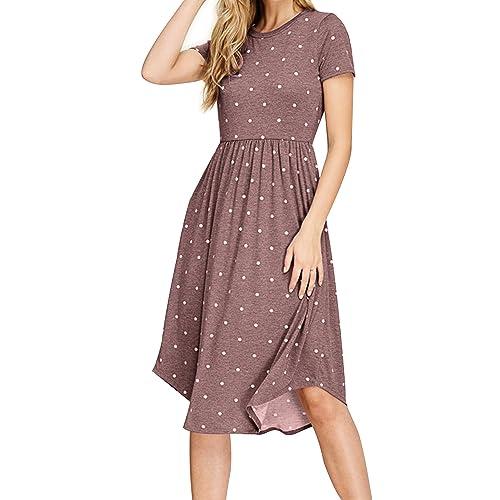 7f0e2efccb6 Simier Fariry Women Summer Pleated Polka Dot Pocket Loose Swing Casual Midi  Dress