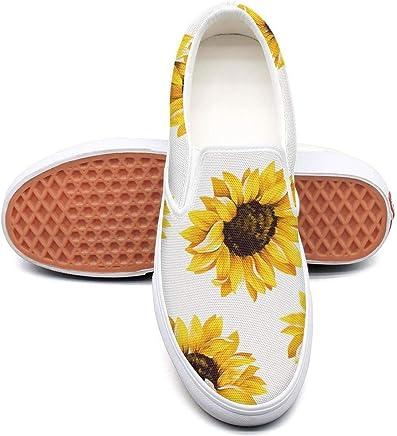 fae1e298 Cute Sunflower Cat Dog Pattern Sneakers for Women Non Slip Skate Shoes  Canvas Fashion Retro