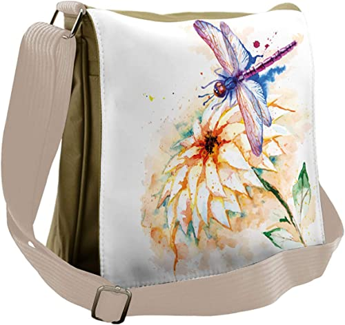 Ambesonne Dragonfly Messenger Bag, Watercolor Lily Bloom, Unisex Cross-body