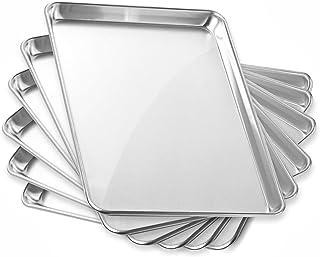 """GRIDMANN 13"""" x 18"""" Commercial Grade Aluminum Cookie Sheet Baking Tray Jelly Roll Pan Half Sheet - 6 Pans"""