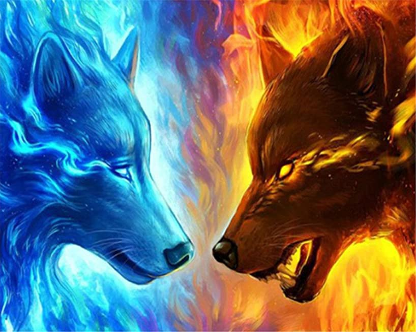 CaptainCrafts Diy 5D Diamond Painting by Number Kits Full Drill Diamond Painting - Water Fire Wolf (25X20cm/10X8inch)