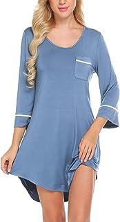 قميص نوم نسائي بأكمام 3/4 من متجر Ekouaer قميص نوم مثير للصديق S-XXL