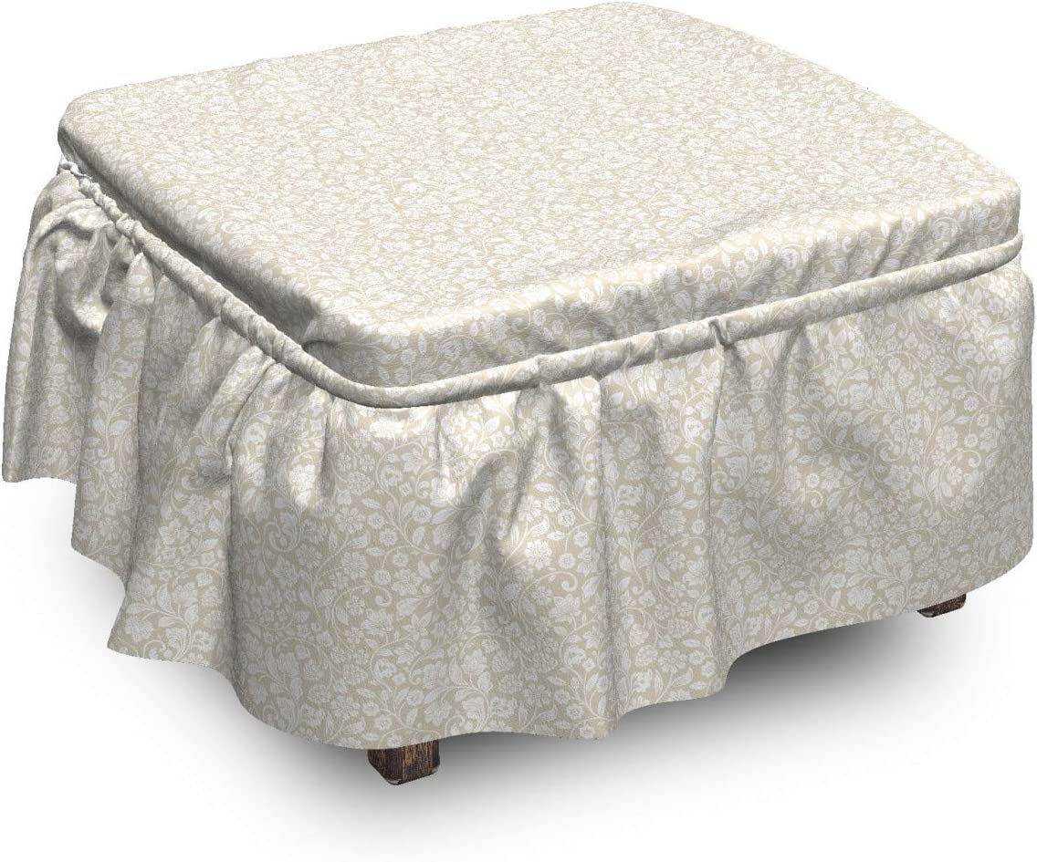 Lunarable Nostalgic OFFicial mail order Ottoman Cover Swirling Piece 2 Botanical 2021 S