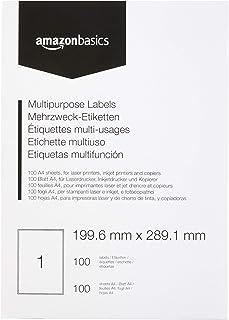 AmazonBasics Étiquettes multi-fonction pour adresse, 199.6mm x 289.1mm, 100 planches, 1 étiquette par planche, 100 étiquettes
