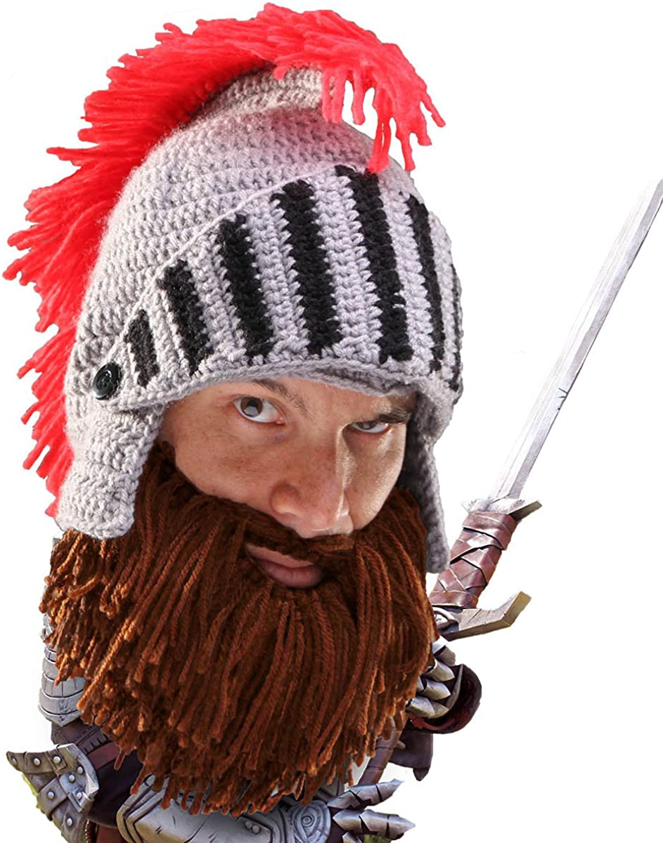 Beard Head Barbarian Knight - Original Handmade Knit Helmet and Removable Beard