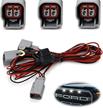 iJDMTOY LED Front Grille Marker Lights Daylight DRL Enable Wiring Harness For 2010-2014 & 2017-up Ford Raptor (Convert LED Grill Lights Into Daytime Running Light)