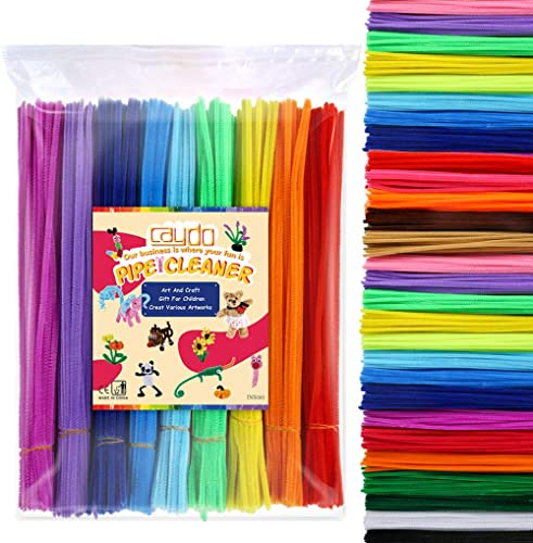 Caydo 360 Pieces Pipe Cleaners 40 Assorted Colored Chenille Stems for Art and Crafts, Children's Craft Supplies (6 mm...