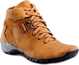 Menter Rough and Tough Synthetic Leather High-Ankle Casual Tan Boots