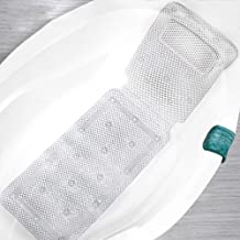 Vnikue 1.25 Meters Long Non-Slip Bathtub Mat with Pillow, Luxury Spa Hollowed Bath Pillow Full Body Mat with Suction Cups