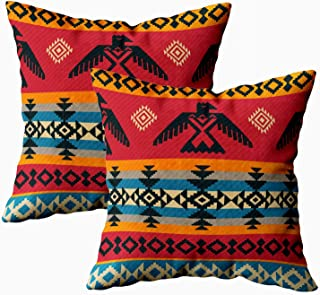 Capsceoll Throw Pillow Covers, 2PCS Eagles Ethnic Geometric Tribal Pattern Native American Style 18x18 Pillow Covers,Home Decoration Pillow Cases Zippered Covers Cushion for Sofa Couch
