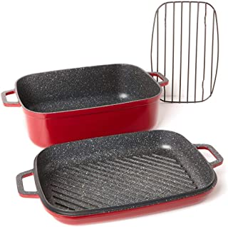 Curtis Stone Dura-Pan Nonstick 8.5 qt. Roaster with 3.5 qt. Grill Lid 628-188 (Renewed)