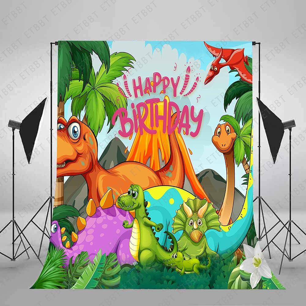 ETBBT Max 86% OFF 7x10ft Dinosaur Park New arrival Backdrop Tropical Coconut Tree Jungle