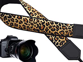 InTePro Camera Strap for DSLR & SLR - Leopard Design Neck & Shoulder Harness Made of Durable PE Leather - Padded Crossbody Straps for Extra Comfort - Compatible with All Camera Brands & Types