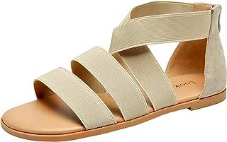 Luoika Women's Wide Width Flat Sandals - Gladiator Elastic Back Zipper Casual Summer Shoes. Beige Size: 12 X-Wide