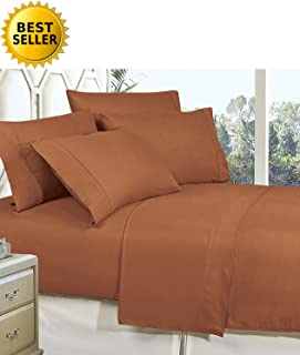 CELINE LINEN Best, Softest, Coziest Bed Sheets Ever! 1800 Thread Count Egyptian Quality Wrinkle-Resistant 3-Piece Sheet Set with Deep Pockets 100% Hypoallergenic, Twin Mocha Chocolate