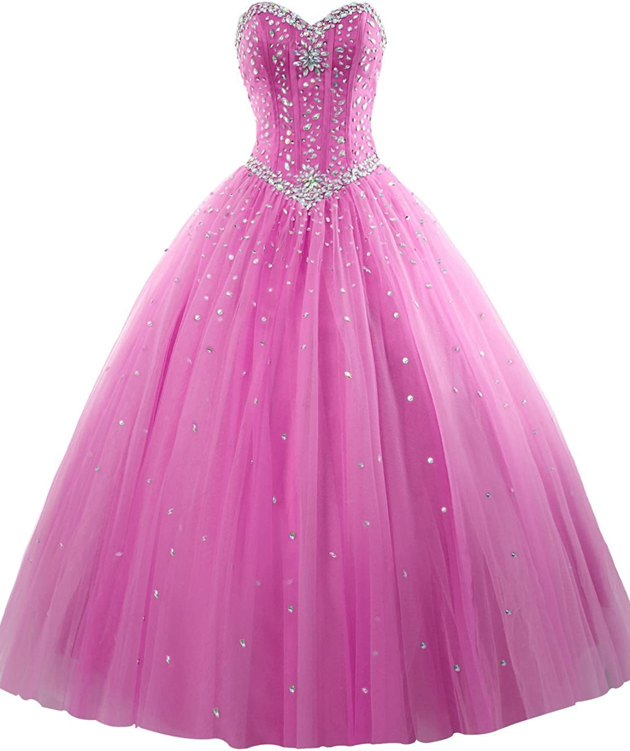 DianSheng Women's Long Prom Ball Gown Tulle Sweetheart Beaded Quinceanera Dress