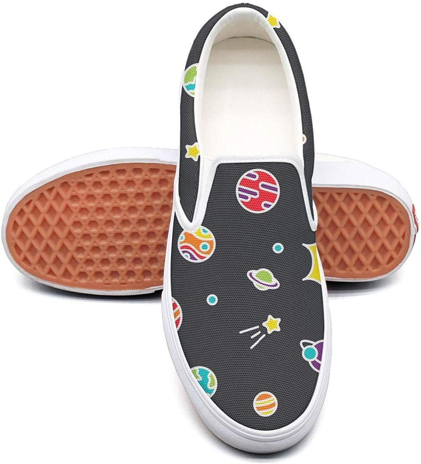 Lalige Universe colorful with Planets Women Stylish Canvas Slip-ONS Travel shoes