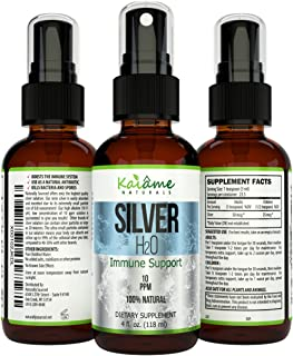Kaiame Naturals Colloidal Silver, Ionic Silver Solution, 10 PPM, Large 4 oz Spray in Glass Bottle, Natural Immune Support Supplement, Safe for Adults, Children, and Pets