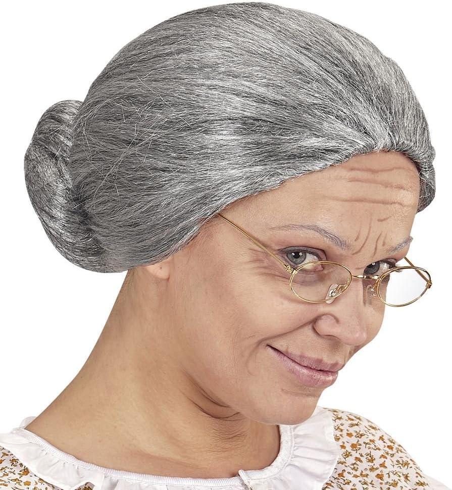 shoperama Granny Bun Wig Grey Marl Greisin Old Grandmother Omi