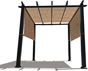 Alion Home Custom HDPE Permeable Canopy Sun Shade Cover Replacement with Rod Pockets for Pergola (16' x 6.5', Walnut)