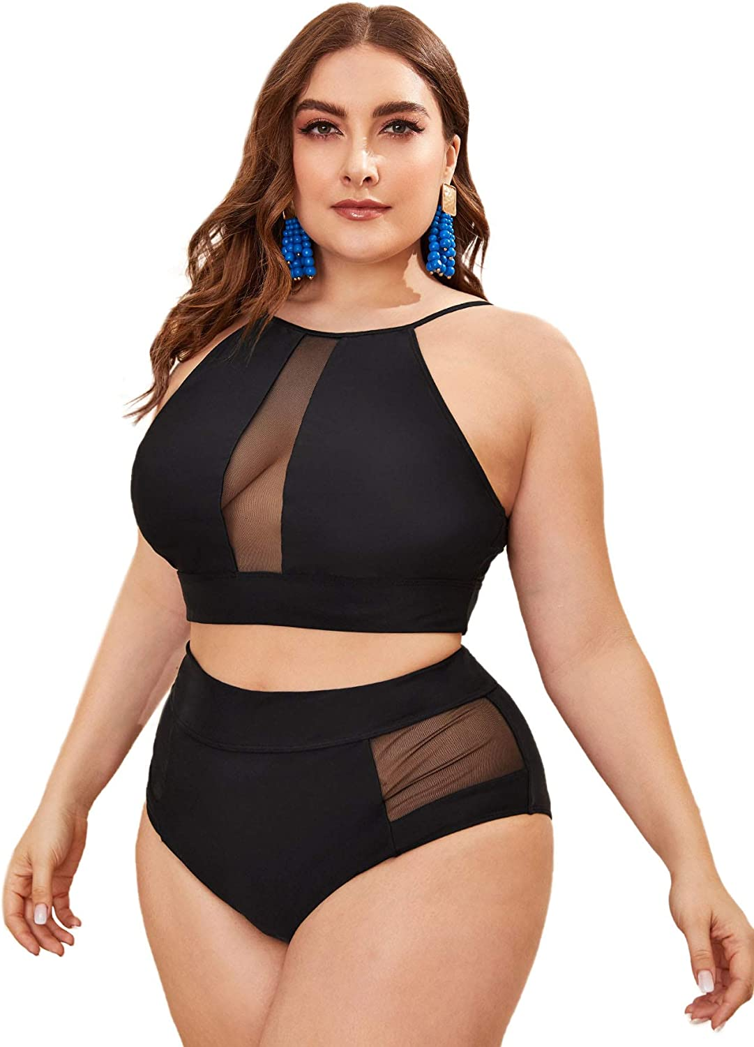 SOLY HUX Women's Plus Size Contrast Mesh High Waisted Bikini 2 Piece Swimsuit Bathing Suits