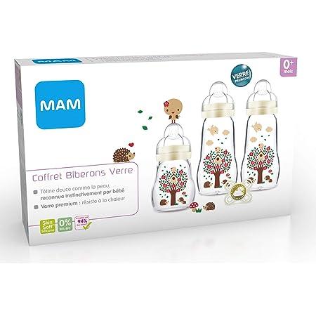 MAM Coffret Biberons Verre (3 Biberons verre + 1 sucette), Biberon MAM Feel Good en verre résistant à la chaleur, biberon verre pour nourrisson dès la naissance et sucette naissance en silicone