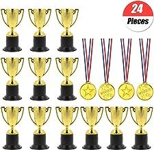 YuChiSX 24 stuks Award Trofeeën Medailles Set, Winnaar Prijs Trofeeën Mini Plastic Trofee Bekers, Mini Trofeeën, Gold Kuns...