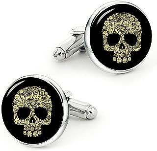 Vintage Gold Skull Cufflinks Handmade Custom Personalized Gold Skull Cuff Links Wedding Jewelry Gift
