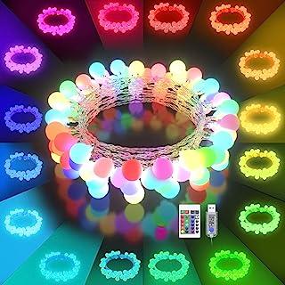 LED String Lights USB Plug - 16 Color Changing 21.3FT 50 LED Globe Balls Indoor String Light with Remote Multicolor Fairy ...